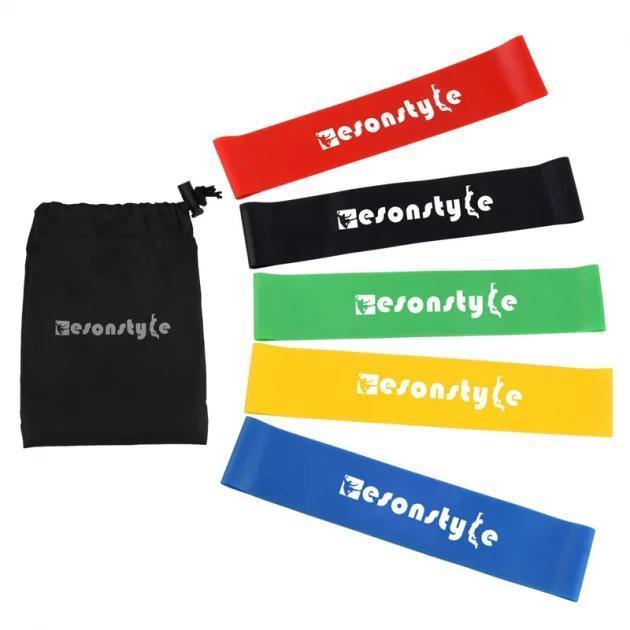 Набор Резинок Esonstyle  5 штук в удобном мешочке. Резинки для фитнеса, спорта эспандер лента