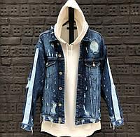 Куртка джинсовая мужская джинсовка весна-лето-осень синяя с лампасами Турция. Живое фото