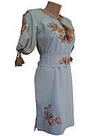 Платье женское вышитое Лен Вышиванка с поясом р.42 - 60