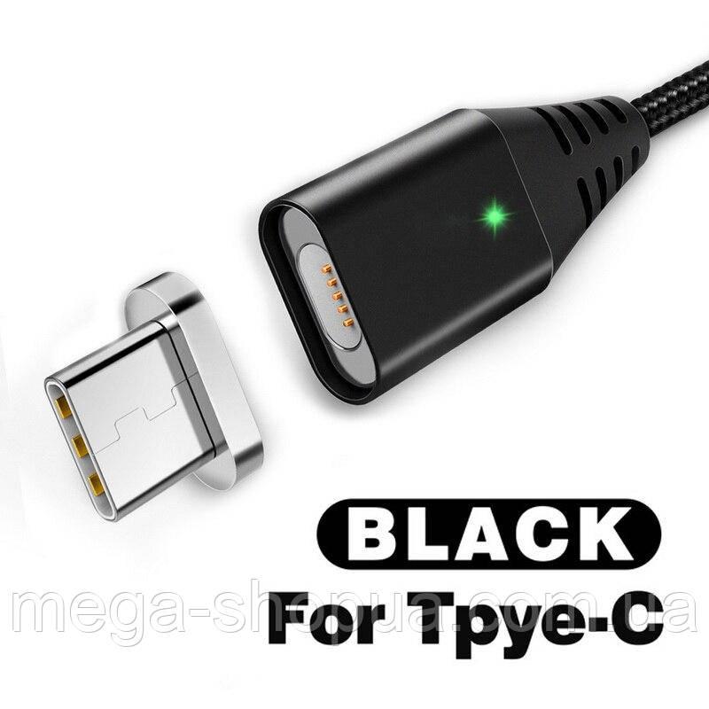 Магнитный кабель USB - Type-C для зарядки и передачи данных Черный 1 Метр
