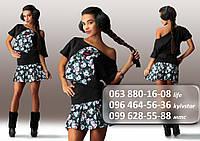 Молодежный женский костюм, состоящий из кофты и юбки с цветочной аппликацией черный