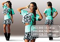 Молодежный женский костюм, состоящий из кофты и юбки с цветочной аппликацией мятный