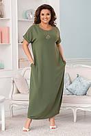Женское длинное платье свободного кроя Размер 42 44 46 48 50 52 54 56 58 60 В наличии 4 цвета