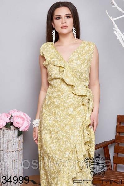 Батльное летнее платье без рукавов лён