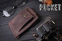 Зажим для денег с монетницей кожаный mod.Pocket коричневый, фото 1