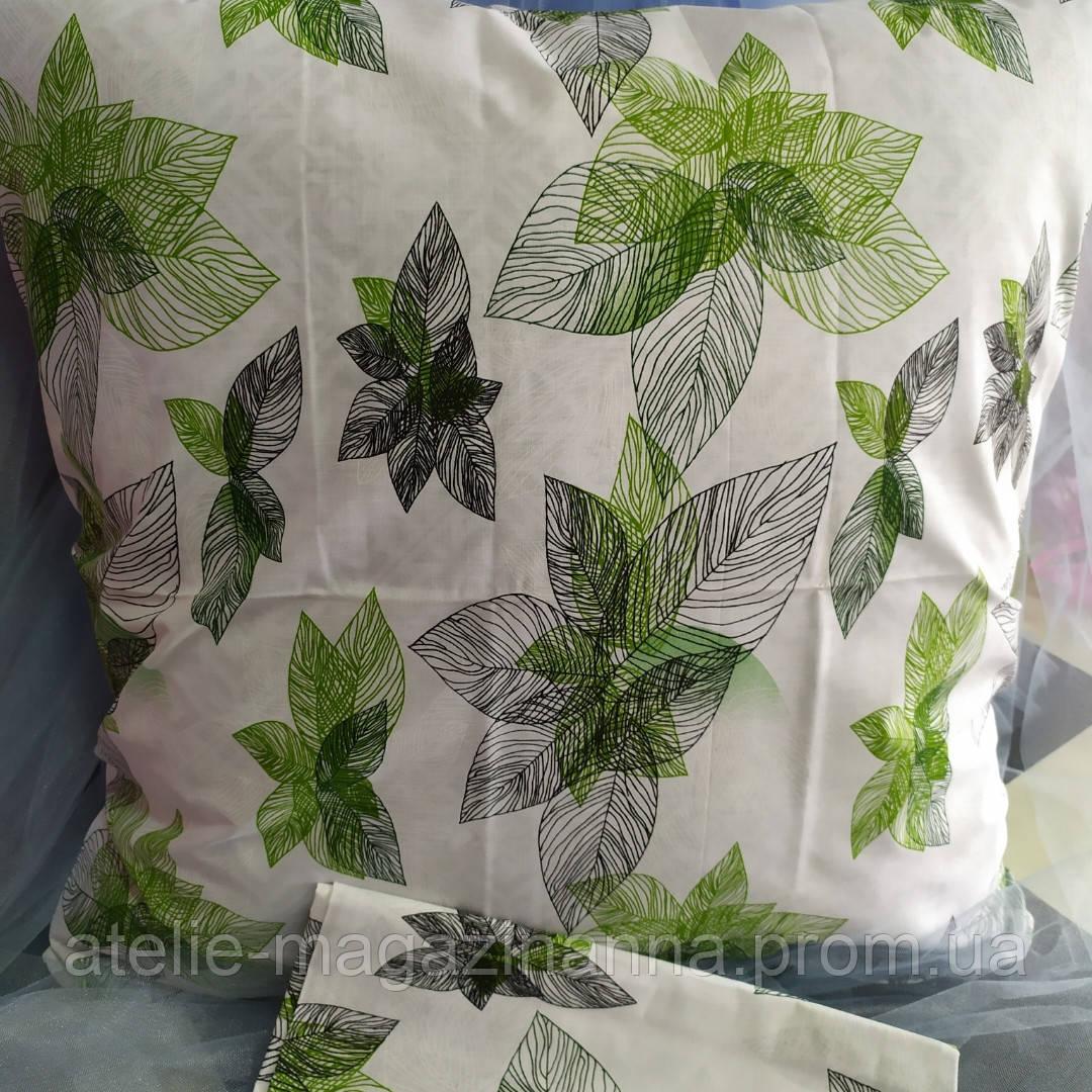 Наволочка на подушку 70*70 светлая с листьями