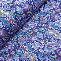 Поплин сорочечный с листьями и перьями на синем фоне, ш. 150 см