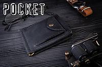 Зажим для денег с монетницей кожаный mod.Pocket черный, фото 1