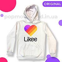 Худи кенгуру Likee Video Premium Белая Лайк толстовка