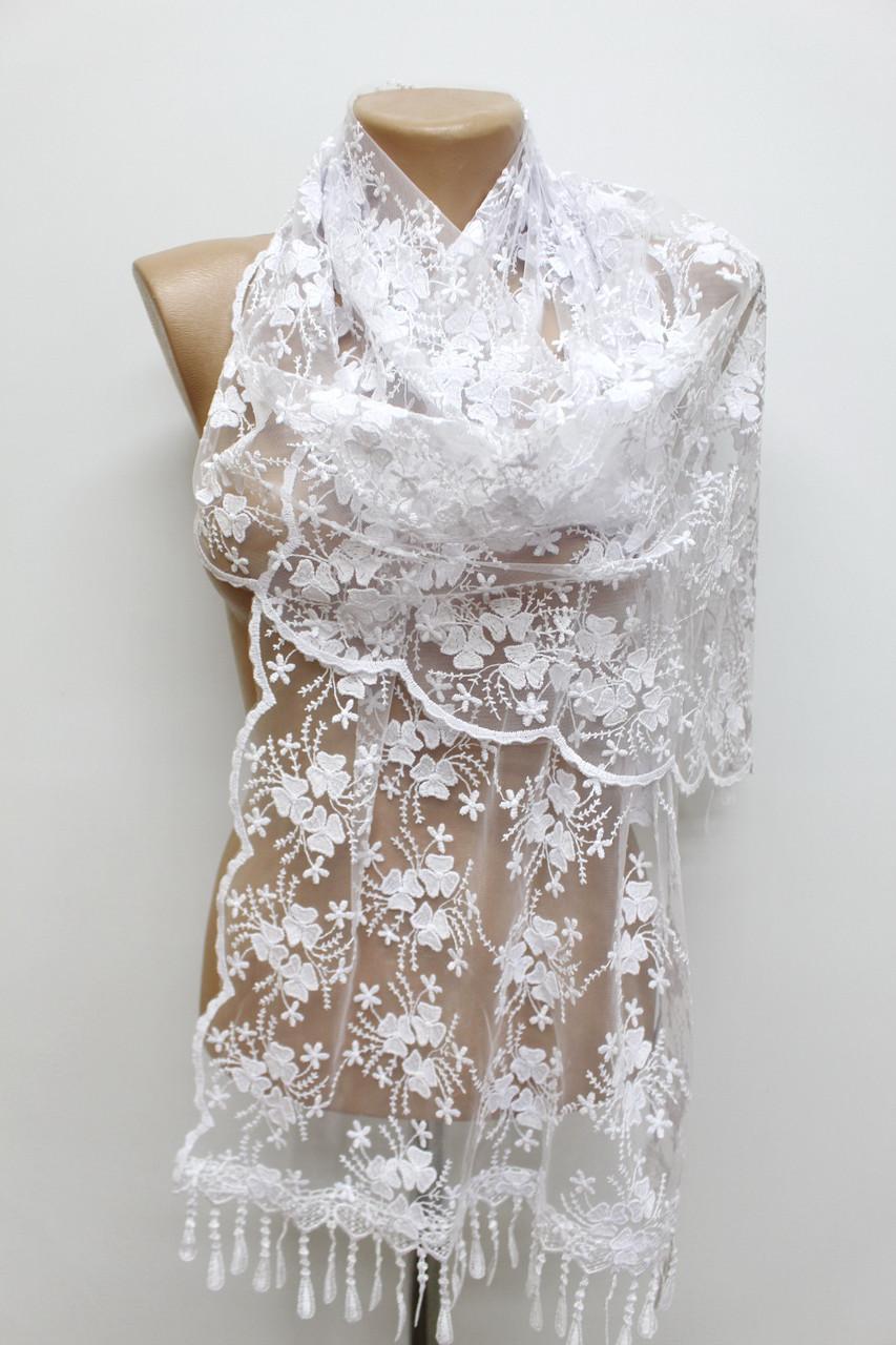 Шарф білий весільний церковний ажурний 150001