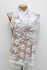 Шарф белый ажурный фатиновый свадебный церковный 150001