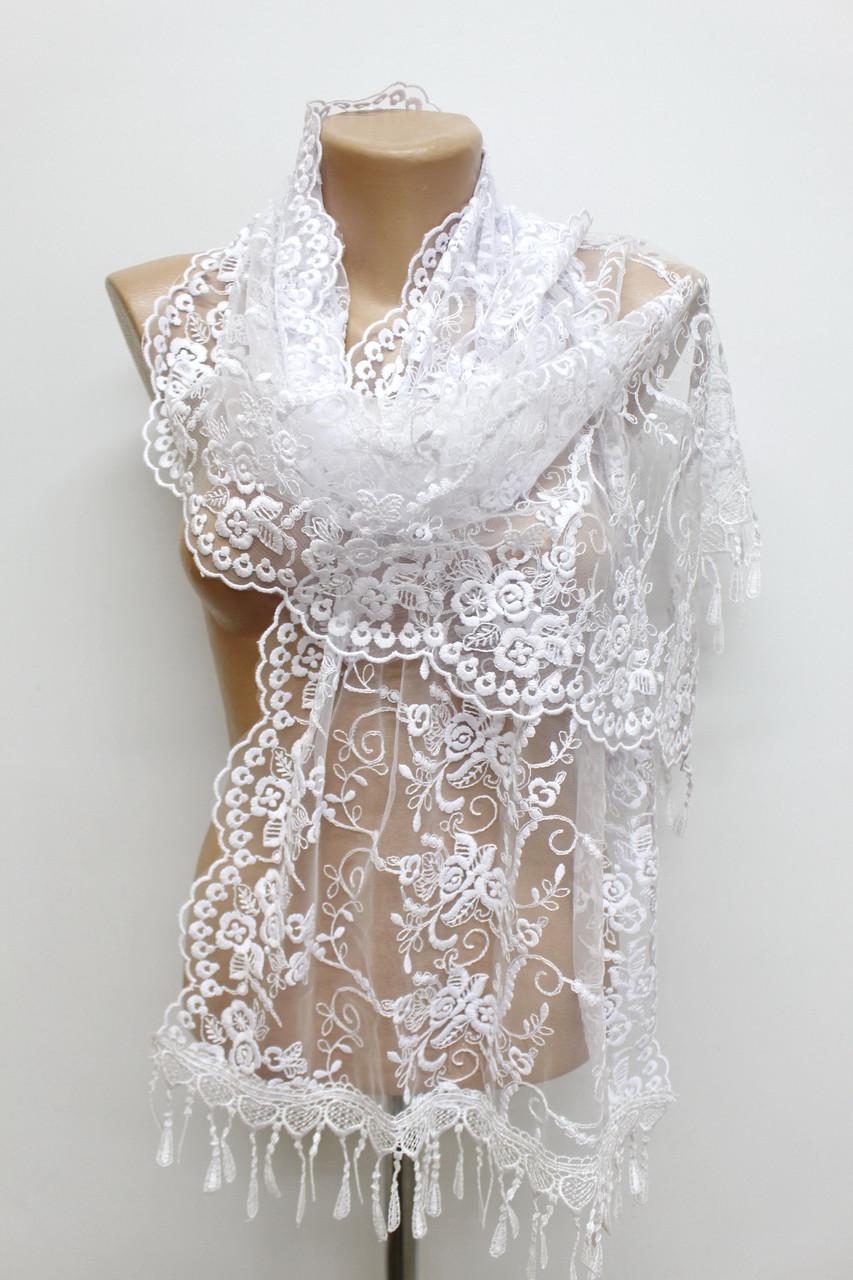 Шарф білий весільний церковний ажурний 150003