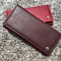 Жіночий шкіряний гаманець середнього розміру (Бордовий)