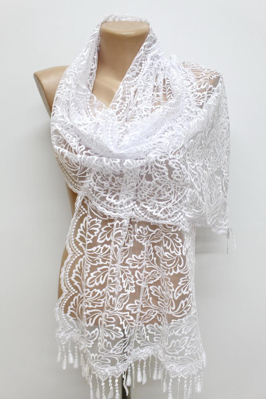 Шарф белый ажурный фатиновый свадебный церковный 150006