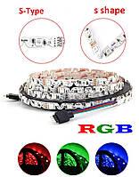 Светодиодная лента rgb smd 5050 48led/м S-Type 12v ip20 многоцветная премиум