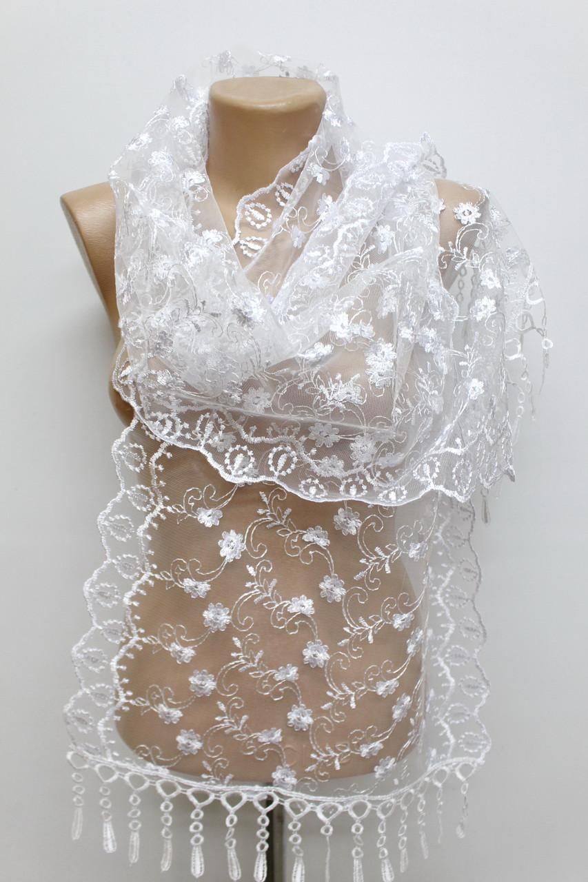 Шарф белый ажурный фатиновый свадебный церковный 150008