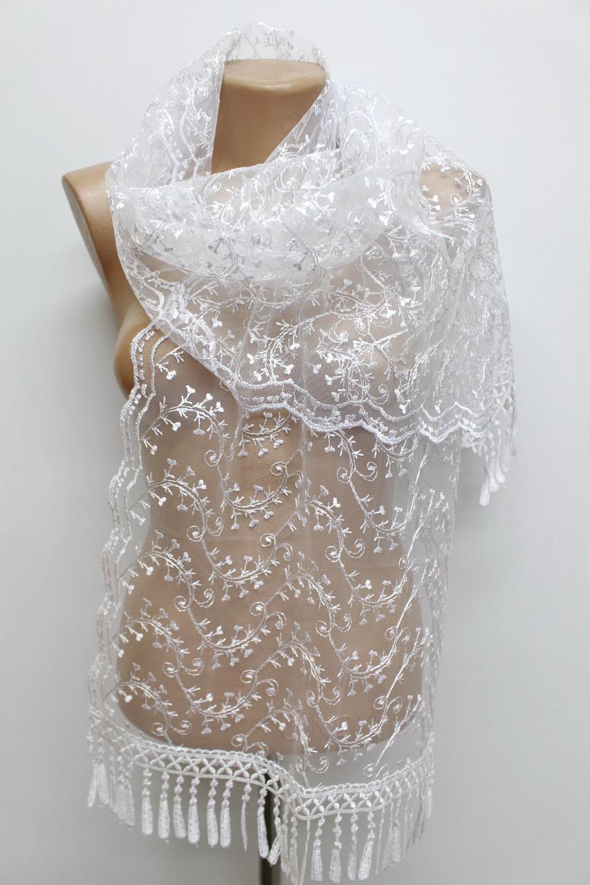 Шарф белый ажурный фатиновый свадебный церковный 150009
