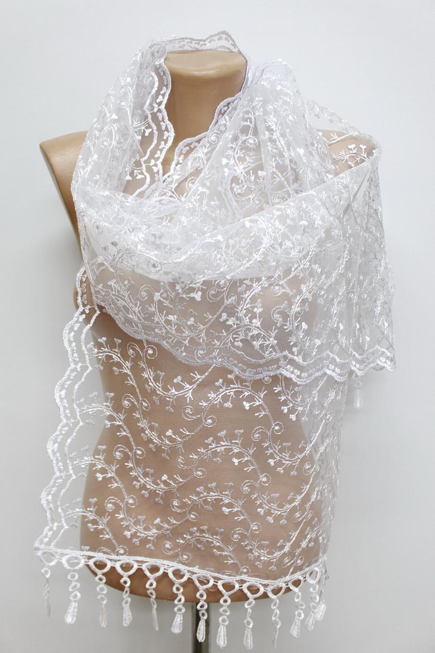 Шарф белый ажурный фатиновый свадебный церковный 150010