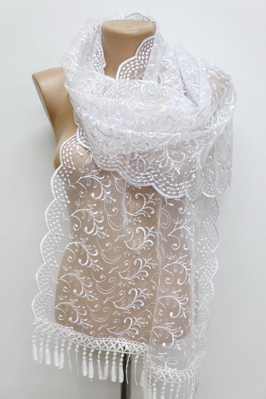 Шарф белый ажурный фатиновый свадебный церковный 150012