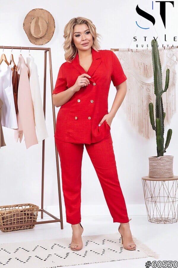 Женский льняной брючный костюм Хилтон в деловом стиле размеры 48, 50, 52, 54