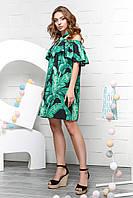 """Женское повседневное платье черное с зелеными листьями """"XS"""" (16000.1.1)"""