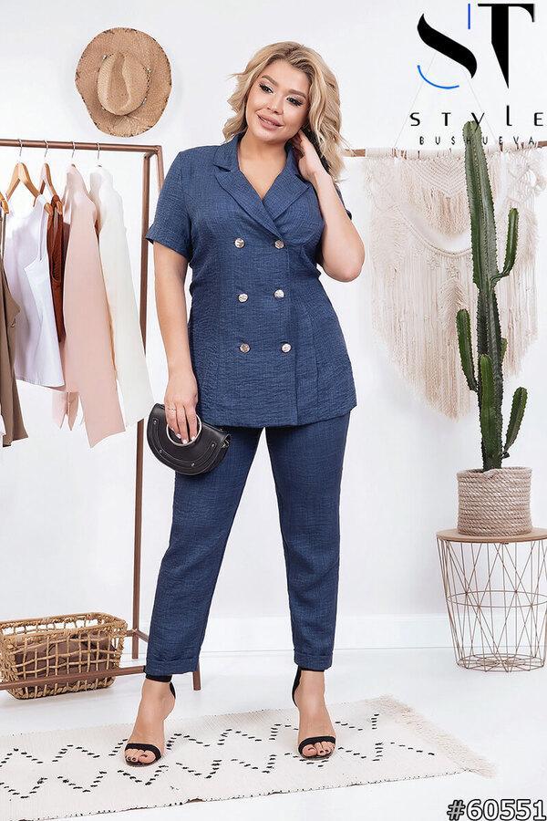 Женский льняной брючный костюм Хилтон в деловом стиле размеры 48, 50, 52, 54, 56 синий