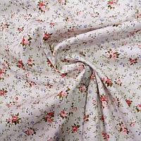 Поплин 100% хлопок розы мелкие на светло-розовом фоне, ш. 145 см, фото 1
