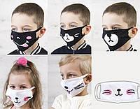 Маска детская двухслойная 100% хлопок для детей ТЕМНО-СИНЯЯ/БЕЛАЯ/ЧЕРНАЯ