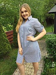 Платье-рубашка Оливия голубой, 54