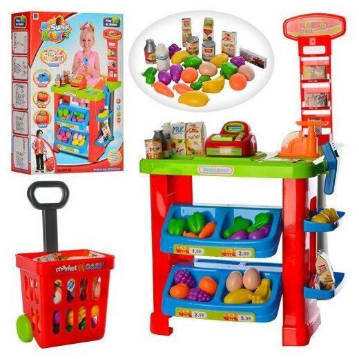 Магазин 661-80 прилавок, касса, тележка, продукты, сканер, весы
