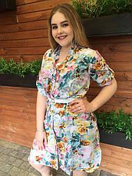 Платье-рубашка Оливия цветы, 54