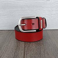 Ремень женский кожаный в джинсы красный (реплика)