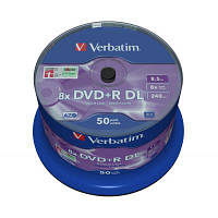 Диск DVD Verbatim 8.5Gb 8X CakeBox 50 шт MATT SILVER SURFACE (43758)