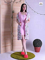 Комплект халат і сорочка, для вагітних і годуючих мам рожевий р. 42-54