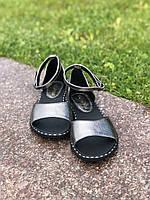 Женские босоножки графитовый сандалии кожаные
