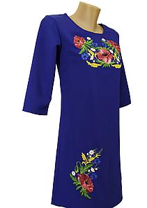 Жіноче літнє плаття вишиванка синє розмір 42 44 46 48