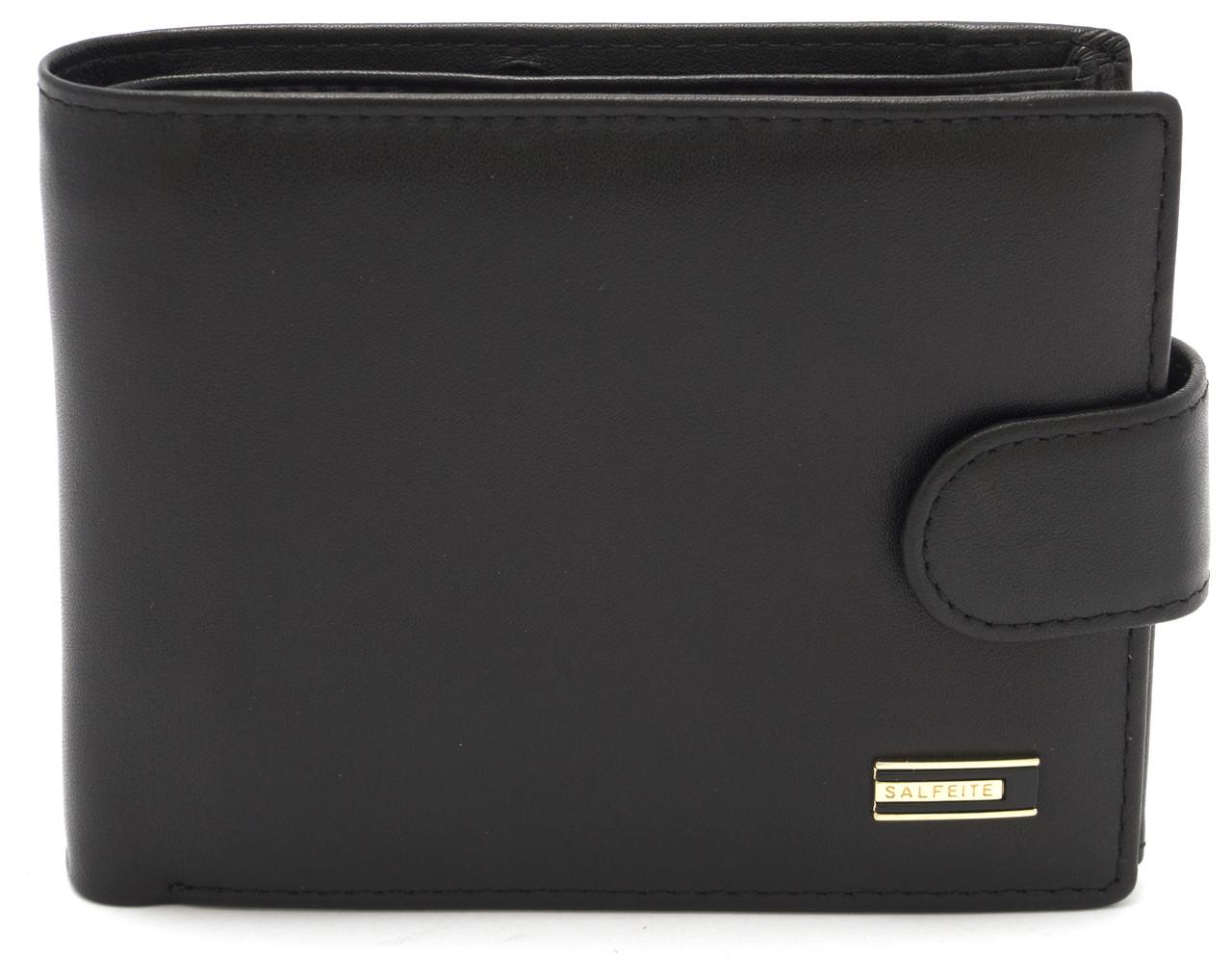 Стильний практичний шкіряний чоловічий гаманець портмоне SALFEITE art. 8233N-BLK чорного кольору