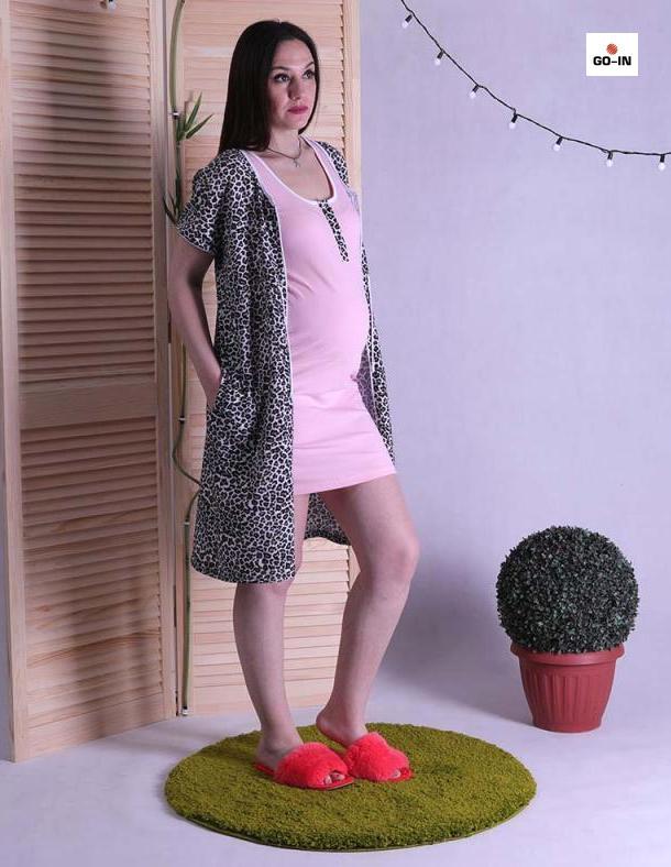 Комплект жіночий халат і сорочка, для вагітних і годуючих мам тигровий
