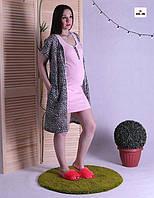 Комплект жіночий халат і сорочка, для вагітних і годуючих мам тигровий р. 42-54