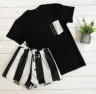 Пижама футболка и шорты L-XL черная полоска