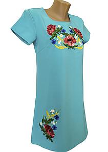Жіноче літнє вишите плаття з коротким рукавом розмір 42 44 46 48