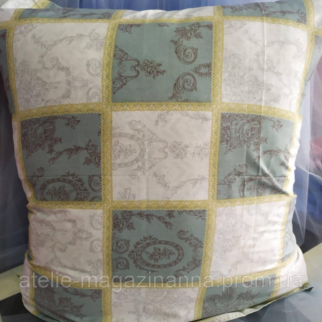 Наволочка на подушку из бязи 70*70 бирюза с белым в квадраты