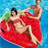 Пляжный надувной матрас плот для плаванья Intex 58781 Клубничка 168 х 142 см Красный (ИНТЕКС 58781)