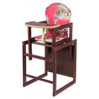 Детский стульчик для кормления трансформер деревянный Наталка Зайчик-22 Темно-красный (мышки, домики)