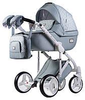 Всесезонная детская коляска для новорожденных 2 в 1 универсальная Adamex Luciano jeans Q221 Серый