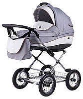 Детская коляска всесезонная для новорожденных 2 в 1 классическая Roan Emma (12 sery) E54 Серый - Белая кожа