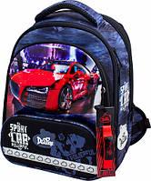 Рюкзак школьный ортопедический ранец DeLune для мальчика Sport Car + сменка + жесткий пенал + часы
