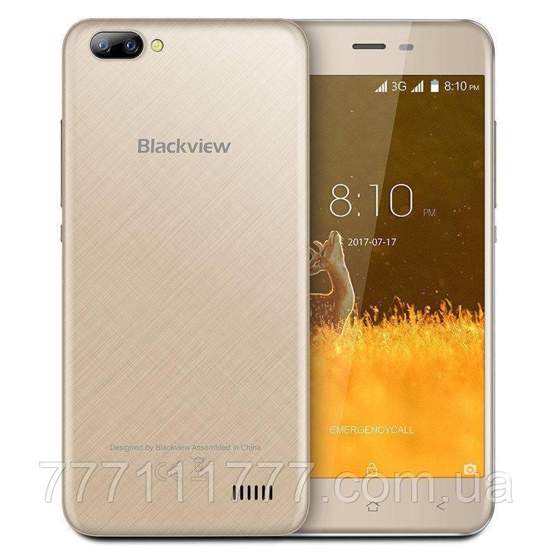 Смартфон бюджетный золотистый с двойной камерой на 2 сим карты Blackview A7 gold 1/8GB
