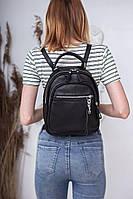 Шкіряний жіночий рюкзак М265 чорний, сумка рюкзак жіноча шкіряна