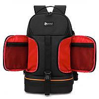 Профессиональная сумка рюкзак для фотографа Ightpro TS30 45x27x20 см ноутбук 15,6 дюймов черный + красный